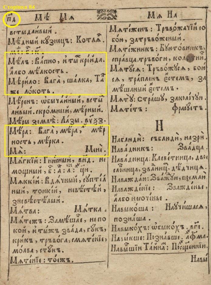 """П.Беринда """"Лексикон..."""" (2-ге виднання, 1653) - сторінка 84"""