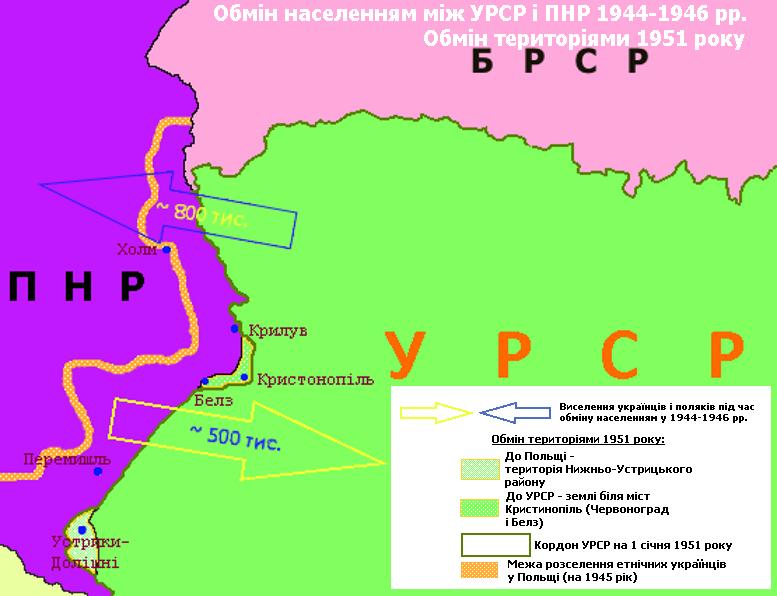 Обмін населення між УРСР і ПНР 1944-1946 рр. Зміни 1951 року.